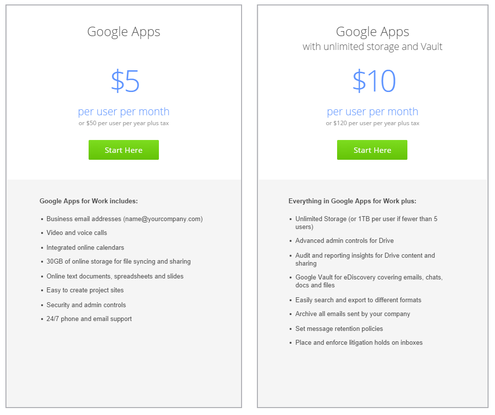 Google Apps for Business Price Plans